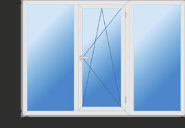 Окно трехстворчатое класса люкс