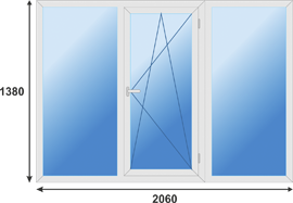 Окно трехстворчатое престиж класса